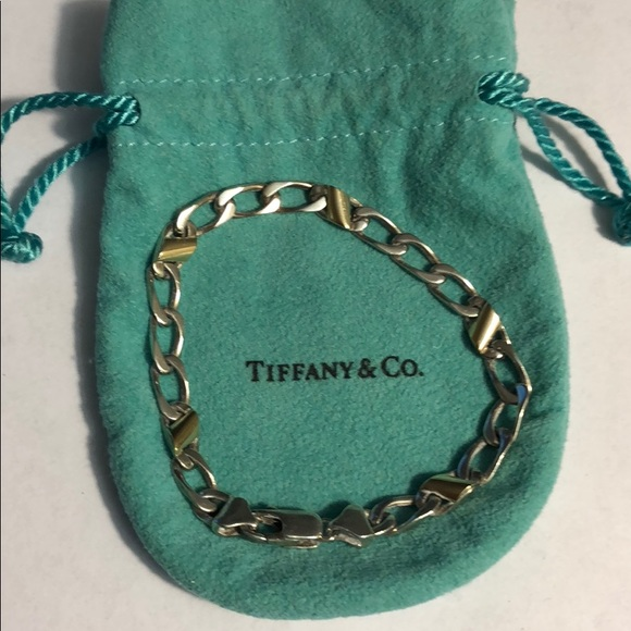Authentic Tiffany's Silver Gold Curb Link Bracelet
